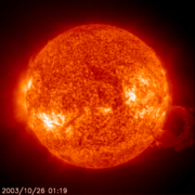 Large solar flare recorded by SOHO EIT304 instrument in the . (Animation (980kB MPEG)).