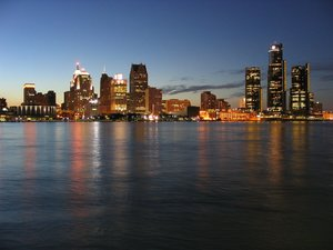 The Detroit skyline at night.