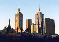 The eastern end of the Melbourne skyline, from Southbank