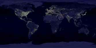 Earth at night, composite of pictures taken between October 1994 and March 1995.