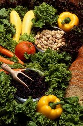 A selection of produce typical of a vegetarian diet.