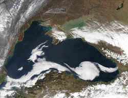 Satellite view of the Black Sea, taken by
