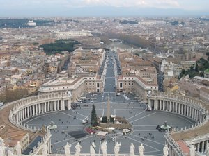 The main entrance to Vatican City from the top of , surrounded by .