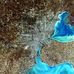 A simulated-color satellite image of Detroit taken on NASA's Landsat 7 satellite.